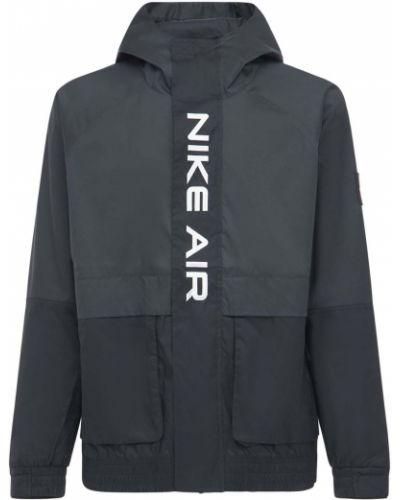 Черная куртка с капюшоном с манжетами Nike
