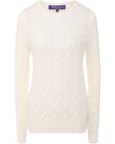 С рукавами трикотажный бежевый пуловер Ralph Lauren