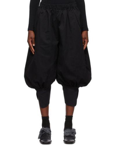 Бархатные черные укороченные брюки свободного кроя стрейч Renli Su