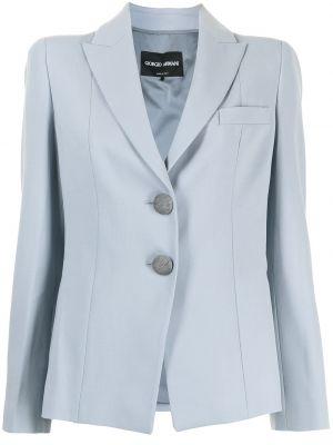 Однобортный синий удлиненный пиджак с карманами Giorgio Armani