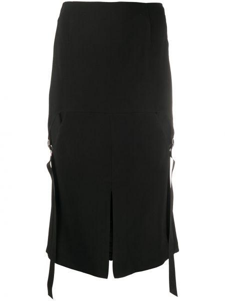 Черная юбка миди на молнии с разрезом в рубчик Olivier Theyskens