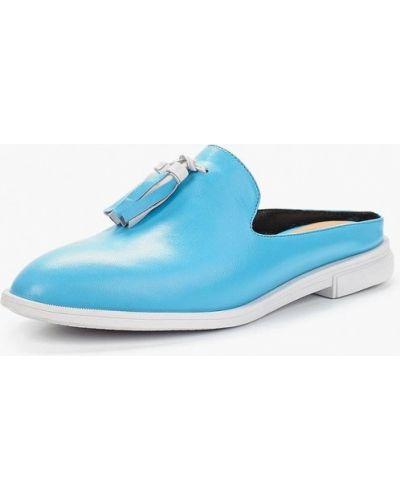 Голубое сабо кожаные Grand Style