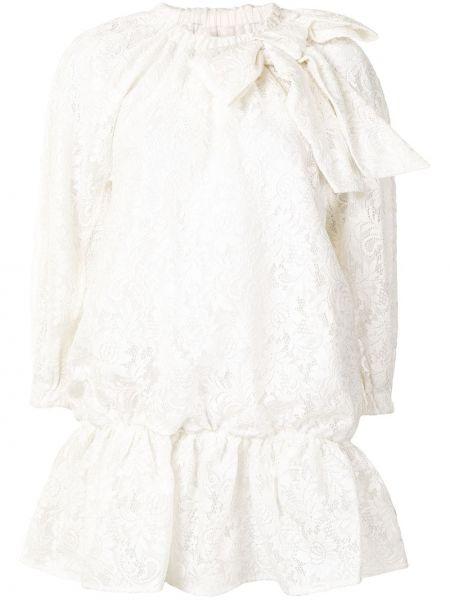 Biała sukienka mini koronkowa z długimi rękawami Shushu/tong