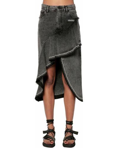 Синяя асимметричная юбка миди в рубчик с карманами Off-white