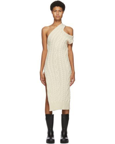 Белое платье с воротником без рукавов с манжетами Telfar