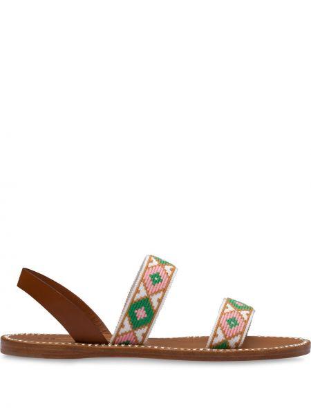 Zielony otwarty sandały otwarty palec u nogi z haftem Miu Miu