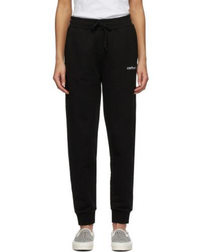 Czarny spodnie z kieszeniami z mankietami z haftem Carhartt Work In Progress