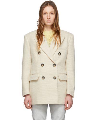 Шерстяное белое длинное пальто двубортное Isabel Marant