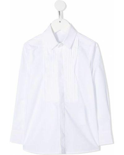 С рукавами белая классическая рубашка с воротником Monnalisa
