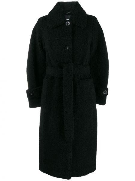 Черное пальто классическое с воротником с поясом Stand