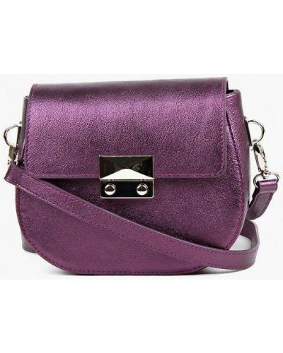 Фиолетовая сумка через плечо из натуральной кожи медведково