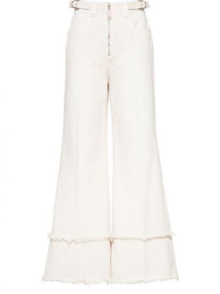 Хлопковые белые расклешенные брюки на молнии Miu Miu