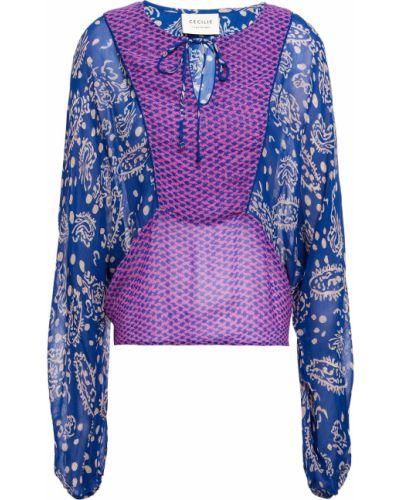 Блузка из вискозы - синяя Cecilie Copenhagen