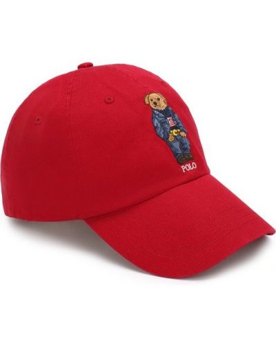 Красная бейсболка с вышивкой Polo Ralph Lauren