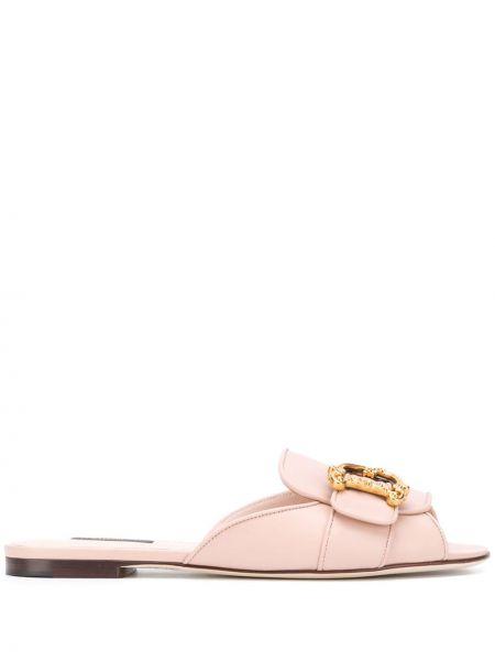 Желтые кожаные мюли без застежки Dolce & Gabbana