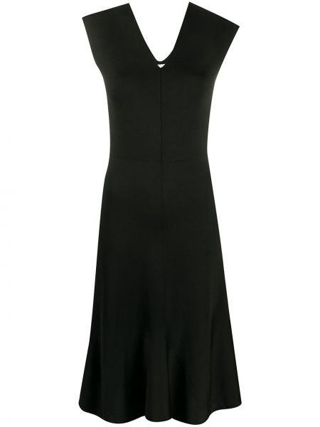 Платье миди с баской с V-образным вырезом Victoria Beckham