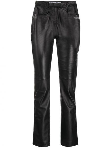 Кожаные черные брюки узкого кроя Off-white