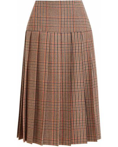 Кашемировая коричневая юбка миди Prada