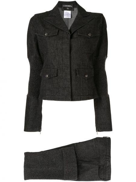 Bluzka z długim rękawem z klapami francuski Chanel Pre-owned
