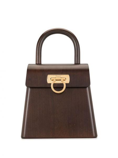 Золотистая коричневая сумка-тоут с карманами Salvatore Ferragamo Pre-owned