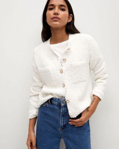 Biały długi sweter bawełniany zapinane na guziki Mango