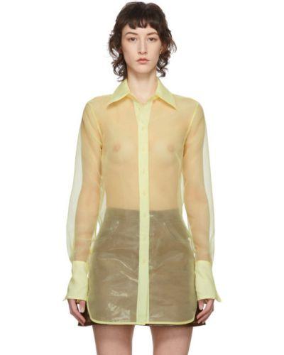 Рубашка с длинным рукавом без воротника прозрачная Simon Miller