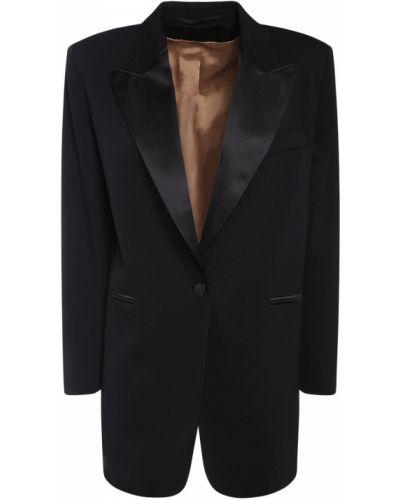Шерстяная черная куртка с карманами Max Mara