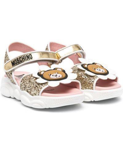 Открытые кожаные сандалии золотые Moschino Kids