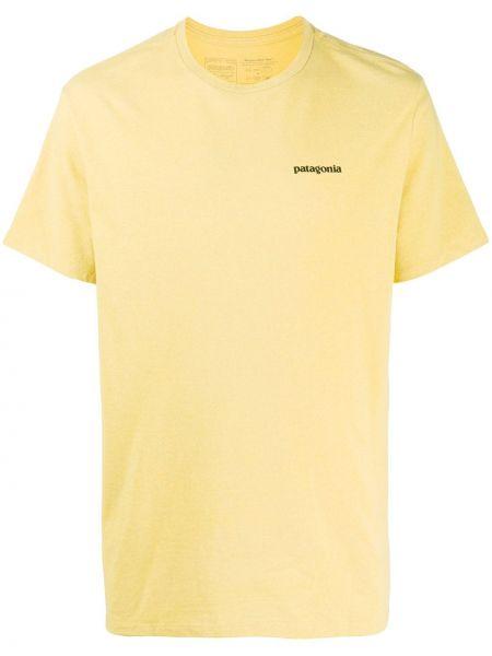 Хлопковая желтая прямая рубашка с короткими рукавами с круглым вырезом Patagonia