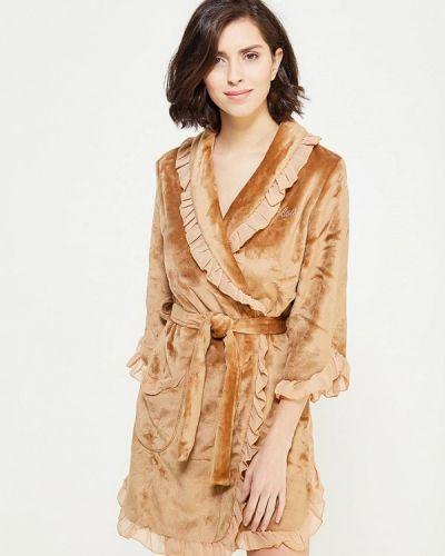 Домашний коричневый флисовый халат Cleo