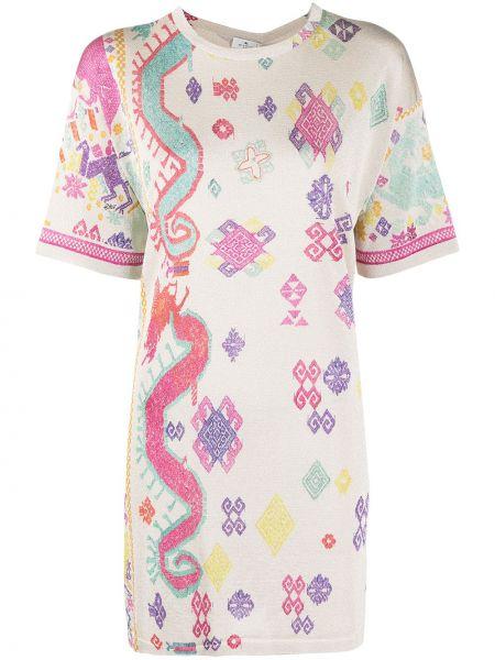Платье мини с вырезом из вискозы с короткими рукавами Etro