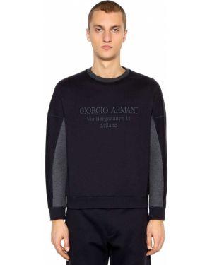 Prążkowana bluza z haftem bawełniana Giorgio Armani