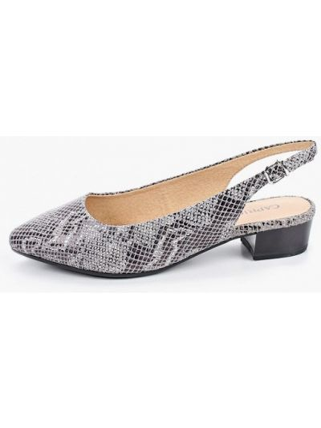 Кожаные туфли серые с открытой пяткой Caprice