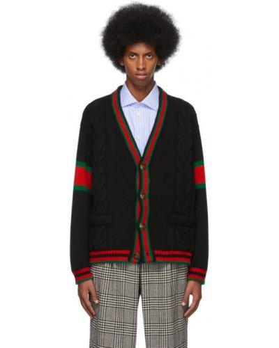 С рукавами черный кардиган с карманами с воротником Gucci
