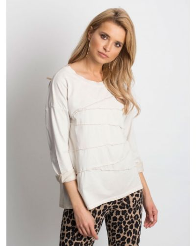 Bluzka asymetryczna - beżowa Fashionhunters
