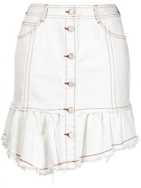 Beżowa spódnica mini asymetryczna z paskiem Sjyp