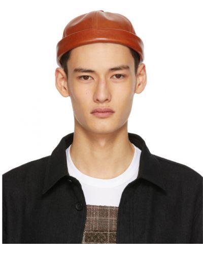 Brązowy kapelusz skórzany z haftem Junya Watanabe