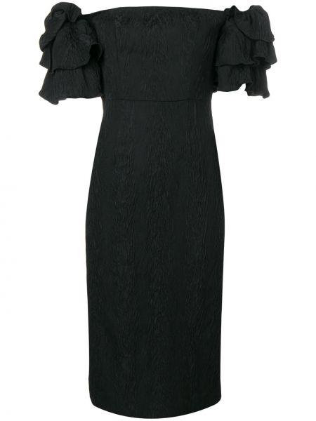 Черное платье миди с V-образным вырезом с оборками на молнии Alexa Chung