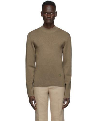 Sweter z kołnierzem khaki z długimi rękawami z haftem Kenzo