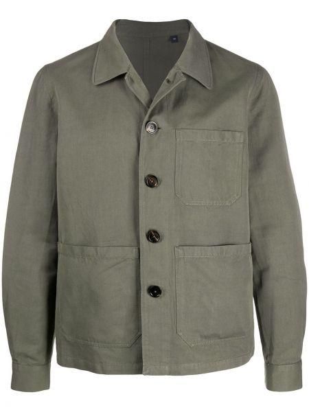 Длинная куртка зеленая льняная Lardini