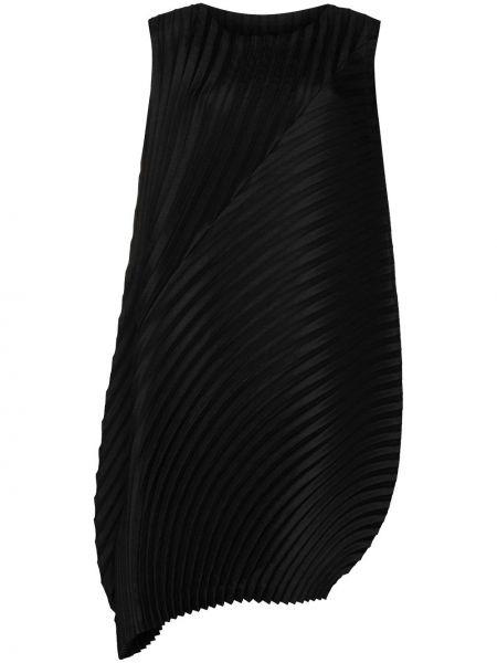 Черное плиссированное платье без рукавов с вырезом Issey Miyake
