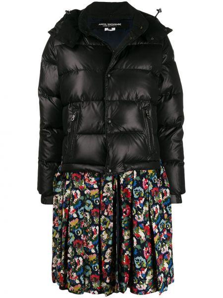 Хлопковая черная длинное пальто с капюшоном Junya Watanabe