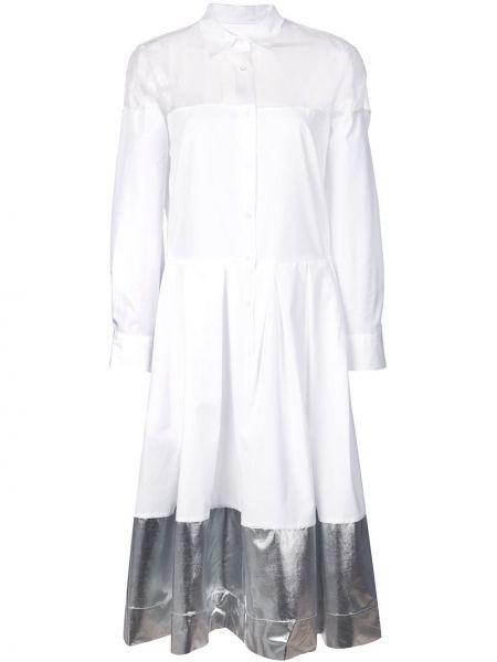 Расклешенное приталенное платье прозрачное на пуговицах Sara Roka