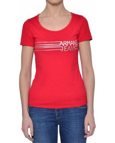 Хлопковая футболка - красная Armani Jeans