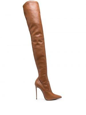 Коричневые кожаные ботфорты на каблуке Le Silla