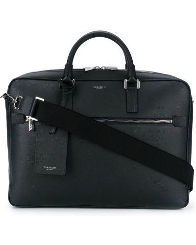 Кожаный портфель - синий Serapian