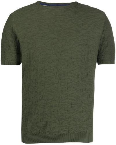 Хлопковая зеленая футболка с воротником Manuel Ritz