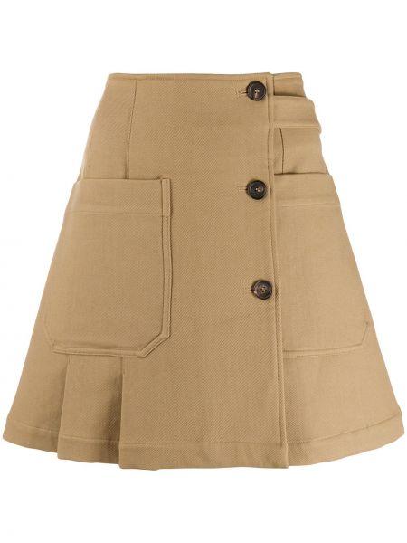 Beżowa spódnica mini z wysokim stanem bawełniana Plan C