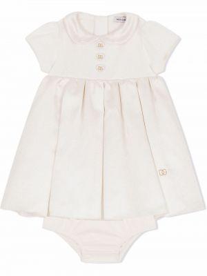 Biała złota sukienka Dolce & Gabbana Kids