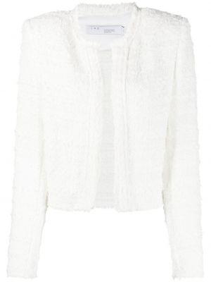 Белый удлиненный пиджак твидовый с вырезом Iro